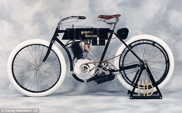 #HarleyDavidson | The restored 'Serial No. 1' motorcycle currently on display in the lobby of the Juneau Avenue building, in Milwaukee, was the first motorcycle sold to the public. Read more: http://www.dailymail.co.uk/news/article-2173899/Harley-Davidson-bikers-pilgrimage-house-started.html#ixzz26xioqH94