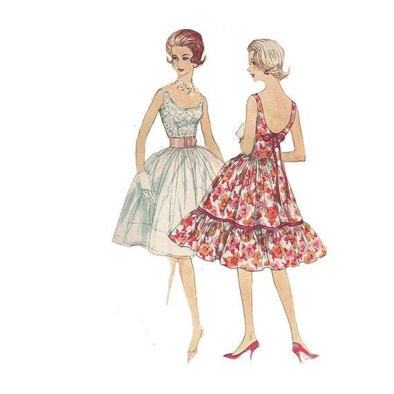 1960s Short Flirty Cocktail Dress Simplicity 3470 by Redcurlzs, $20.00