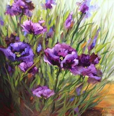 Purple Poppy Flower Garden Painting by Texas Artist Nancy Medina, painting by artist Nancy Medina
