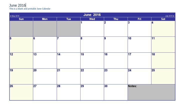 June 2016 Word Calendar - Printable Monthly Calendar Templates PDF, Word, Excel, Jpg, Png Easy to print online from templatecalendar.com