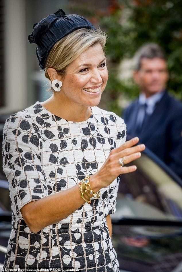 Queen Maxima of the Netherlands, 46, declared the Asian Library officially open at Leiden University - the alma mater of her mother-in-law, Beatrix of the Netherlands - on Thursday.