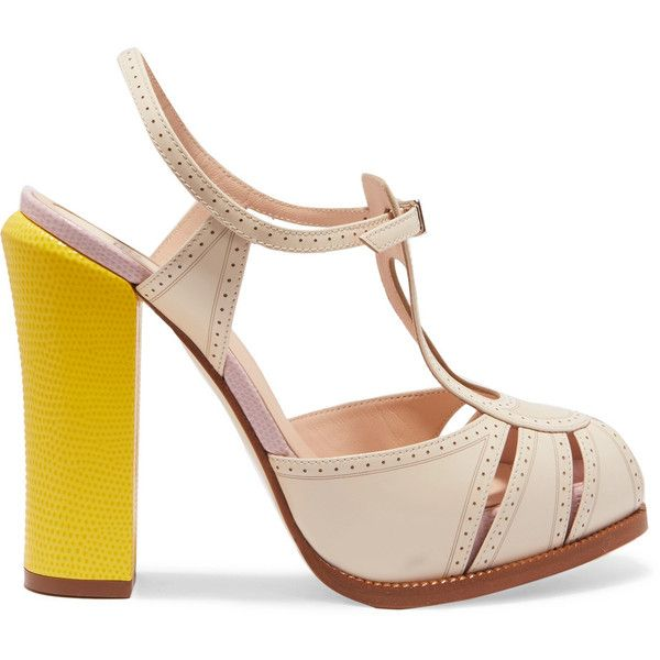 Fendi Leather and lizard-effect Mary Jane sandals ($570) ❤ liked on Polyvore featuring shoes, sandals, heels, neutral, strap sandals, ankle strap heel sandals, platform heel sandals, strappy heeled sandals and high heel shoes