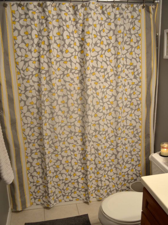 Custom Shower Curtain Grey White And Yellow Flowers And
