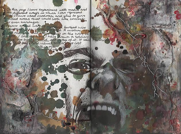 Ruth Beeley: St George's School, Hertfordshire England 2011. Sketchbook page for A Level Art Coursework final artwork, exploring the theme of war.