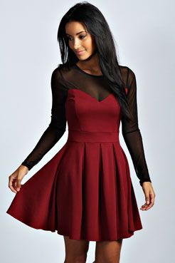 Annie Mesh Detail Skater Dress at boohoo.com