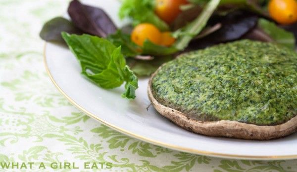 Portobello mushrooms stuffed with spinach and gorgonzola cheese. Meatless monday meal.
