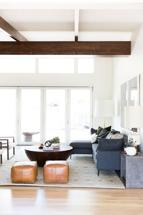 Mid-Century Modern Living Room with Natural Wood Beams