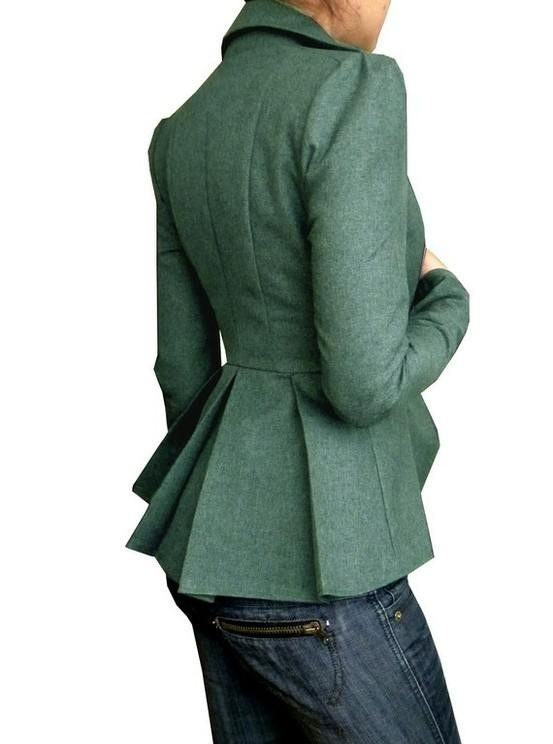 Peplum jacket in green. Supposedly the look is from the '50s, but I'm picking up a 19th century vibe.