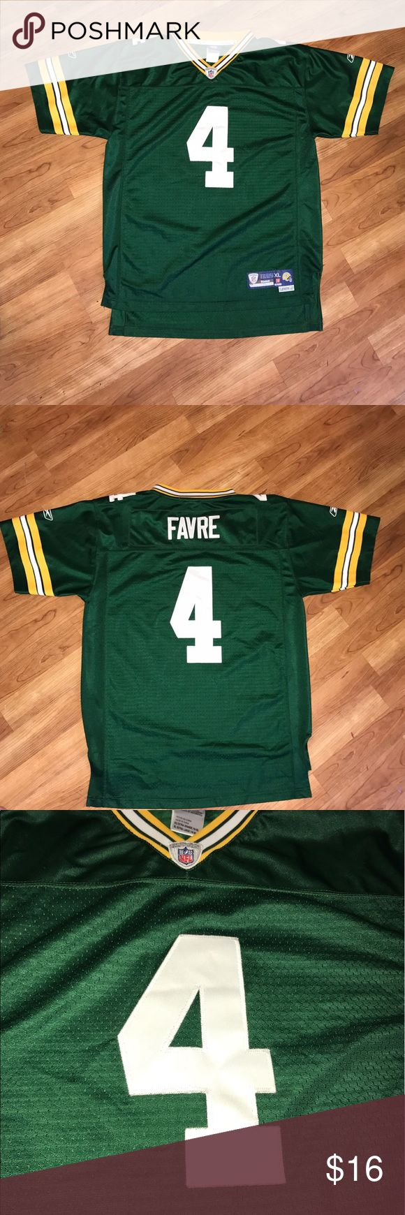 Boy's Reebok Youth Favre Green Bay Packers Jersey For sale is an Brett Favre Green Bay Packers jersey.  The stitched jersey is a kids XL (18-20) and is used.  Comes from a smoke / pet free home.  The jersey jersey is used but is in near perfect shape.   Please see pictures for more details on condition.    The jersey measures 21 inches from arm pit to arm pit, 18 inches from arm pit to bottom, and 29.5 inches from top to bottom. Reebok Shirts & Tops
