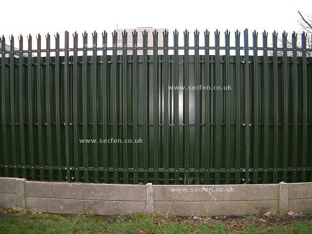 Corrugated Metal Fence Steel Palisade Fencing Complete With A Privacy Corrugated Steel Back Rusticfenceideas