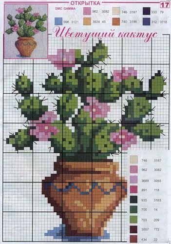 Χειροτεχνήματα: σχέδια με κακτάκια για κέντημα / cactus cross stitch patterns