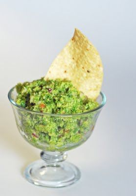 Broccamole!! Much more calorie-friendly than guacamole, with all of the same flavors. The texture is definitely different than guacamole (you don't get that creaminess)