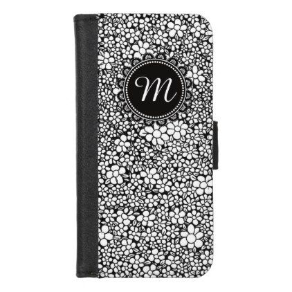 Hand Drawn Flower Pattern Monogrammed iPhone 8/7 Wallet Case - monogram gifts unique custom diy personalize