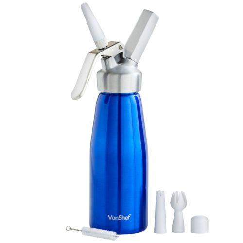 VonShef-Whipped-Cream-Dispenser-500ml-Whipper-Decorating-Nozzles-Brush-Blue