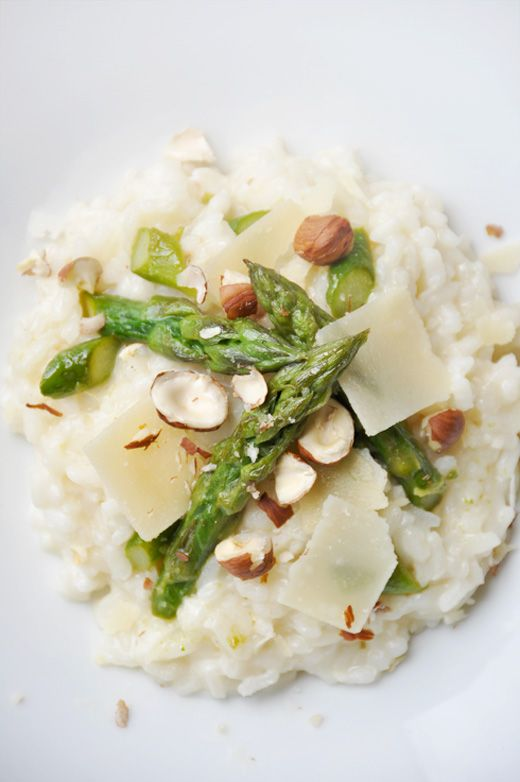 Green Asparagus Rrisotto with Shelled Hazelnuts
