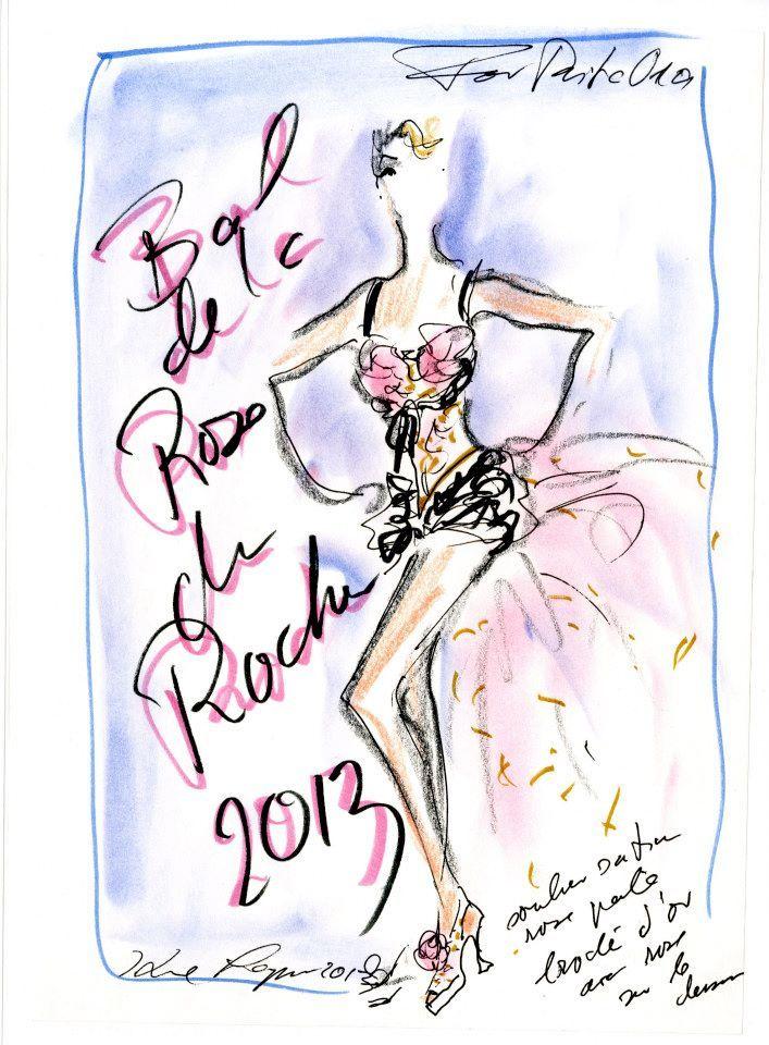 CHANEL- para Baile de la rosa en Mónaco: Drawings,  Hankey, Of The,  Hanky,  Hankie, Fashion Designsketch, Dessin Karl Lagerfeld, Fashion Design Sketch, Drawing