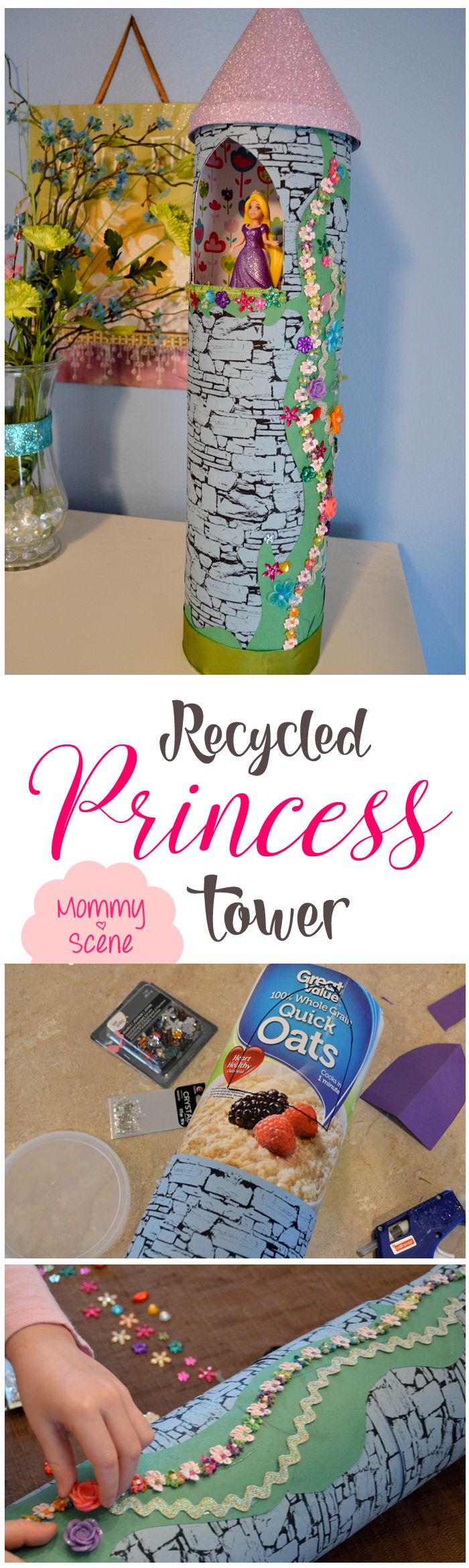 This beautiful little Rapunzel-inspired Princess Tower is easy to make with an old lemonade can and recycled oatmeal container!