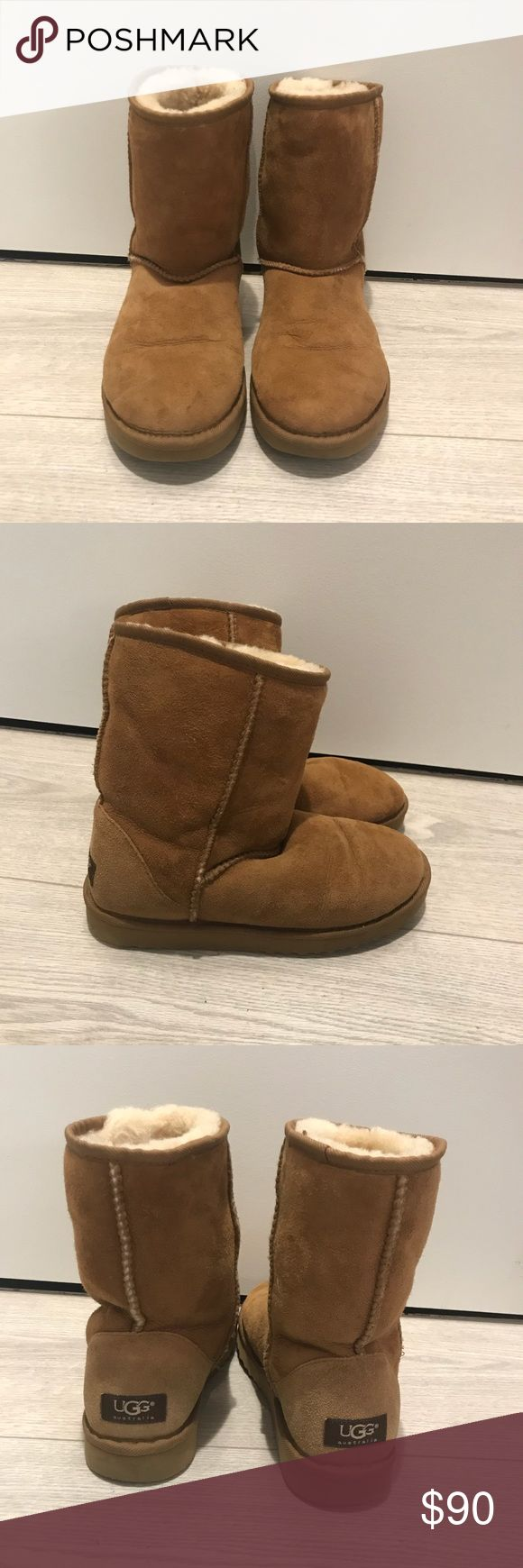 Classic Ugg Short Boots In great condition! Small water mark on front of right boot (pictured above). Inside lining still warm and fluffy UGG Shoes Ankle Boots & Booties