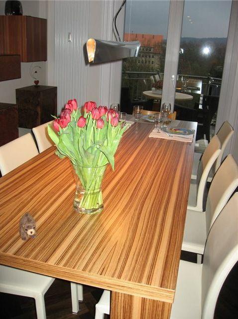 Elegant Zebra Wood Veneer Cabinets