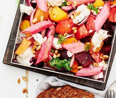 Getost och bakade rödbetor är en pålitlig smakkombo som här får ett lite otippat men sällsynt gott sällskap med rabarber. En välkomponerad sallad där den syrliga rabarbern får en lyckad matchning med getosten och en fänkålsdoftande dressing. Välj gärna olika sorters betor så blir salladen extra färgglad.