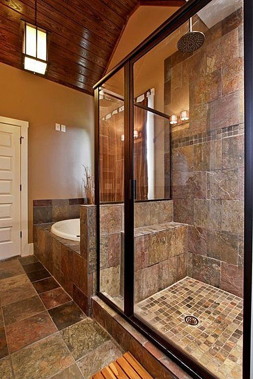 Craftsman Master Bathroom With Framed Showerdoor, Daltile Terrain Marrone  Field Tile, Specialty Door, Pendant Light