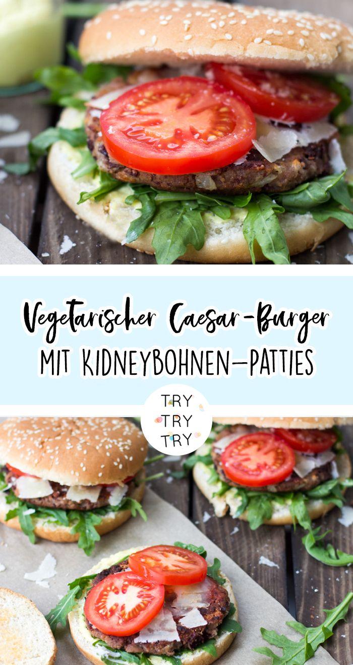 Vegetarischer Caesar Burger mit Kidneybohnen Patties