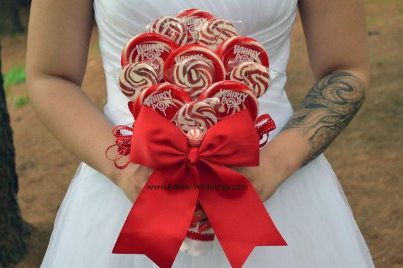 Custom lollipop bouquets, boutonnieres, decor and so much more! Visit our Etsy shop today by clicking on the picture! #edibleweddings