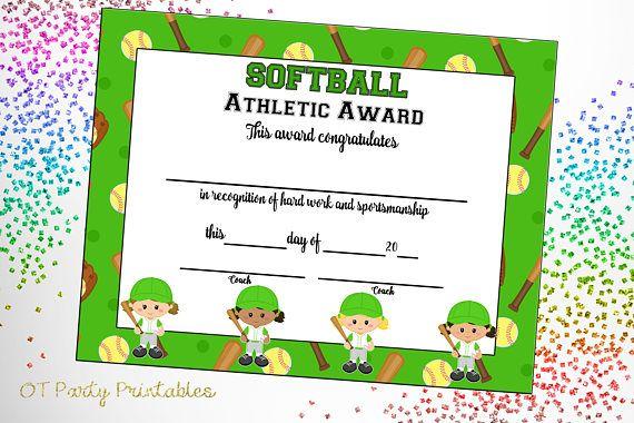 Softball Certificate of Achievement  Softball Award  Print