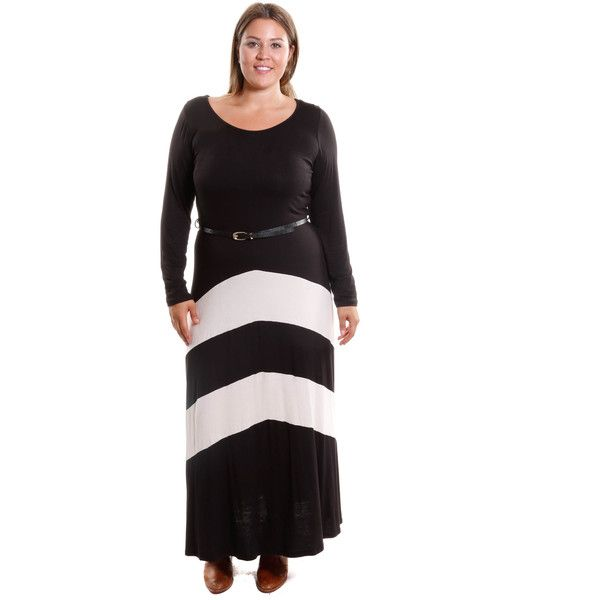 Hadari Women's Plus Size Chevron Belted Dress ($18) ❤ liked on Polyvore featuring plus size women's fashion, plus size clothing, plus size dresses, black, plus size, womens plus size maxi dresses, plus size long dresses, print maxi dress, belted maxi dress and chevron print dress