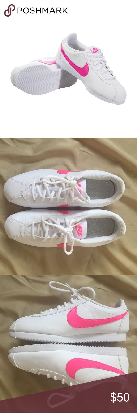 Nike Cortez Sneaker NWOB white Nike Cortez with pink swoosh. Super cute classic style! Youth 7Y which is equivalent to women's 8.5 as noted in Nike size chart in photos. **Toe box is very narrow, so if you have a wider foot I'd go up a size** Nike Shoes Sneakers