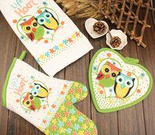 3 stks/set Leuke Uil Keuken Koken Gereedschap Ovenwanten Potholder Handdoek Set(China (Mainland))