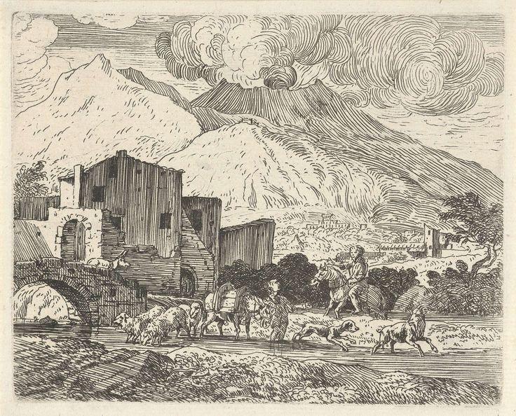Govert van der Leeuw   Herder in een landschap met vulkaan, Govert van der Leeuw, 1655 - 1688   Een herder staat met een kleine kudde bij stroompje in een bergachtig landschap. Links liggen huizen, rechts rookt in de verte een vulkaan. De prent maakt deel uit van een negendelige serie prenten met voorstellingen van Italiaanse landschappen.