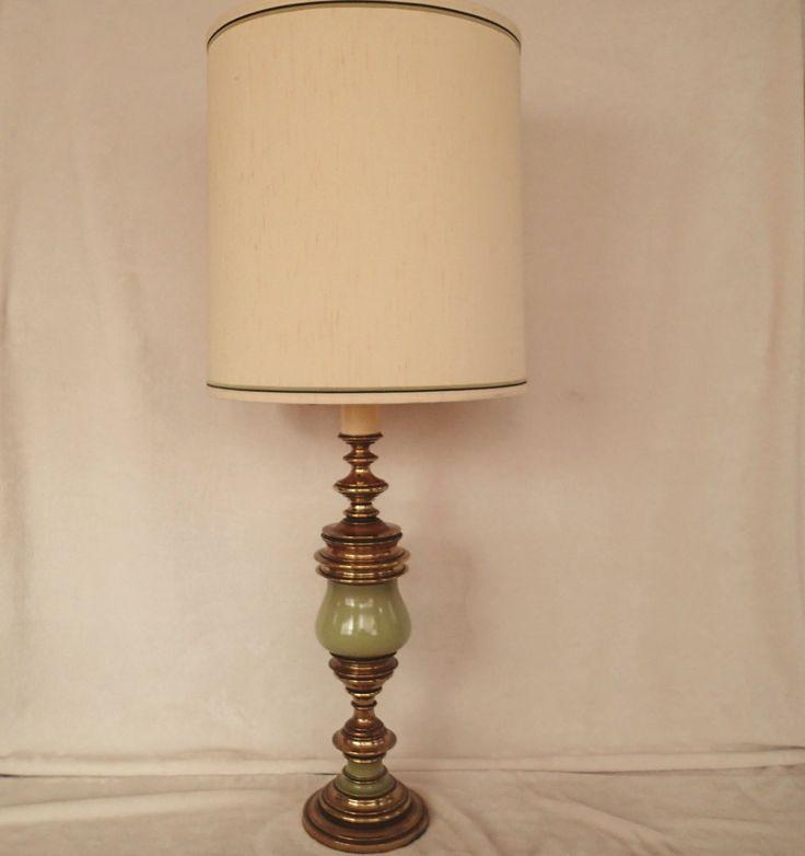 Table Lamp Green Enameled Brass Hollywood Regency, Mid Century, Antique  Satin Original Matching Vintage