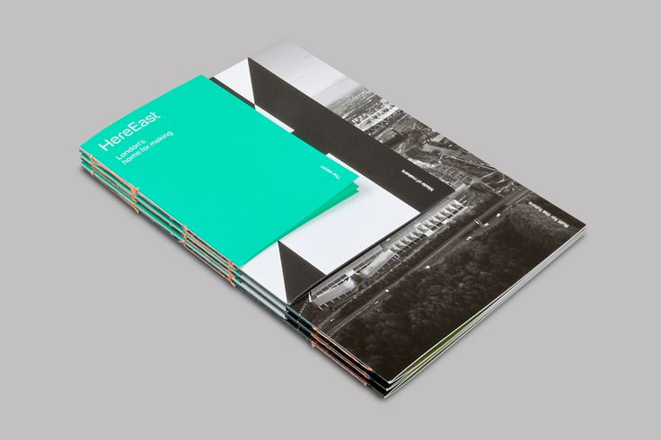 Brochure design with coloured paper and stitch detail for Here East by dn&co