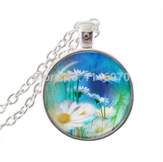 Цветок ожерелье женщины ювелирные изделия подсолнечника кулон цветок ювелирные изделия из стекла кабошон ожерелье для женщин серебряная цепочка длинные ожерелья