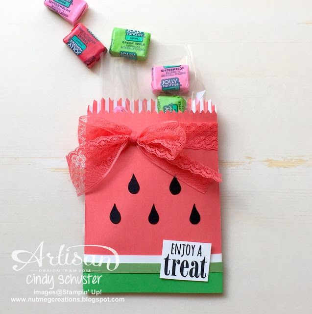 nutmeg creations: Watermelon Wonder Treat - Stampin' UP Artisan Blog Hop