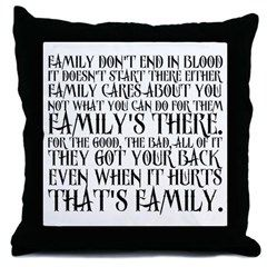 $20 Family Supernatural Throw Pillow. Family don't end in blood. It doesn't start there either. Family cares about you, not what you can do for them. Family's there...Dean Winchester quote.