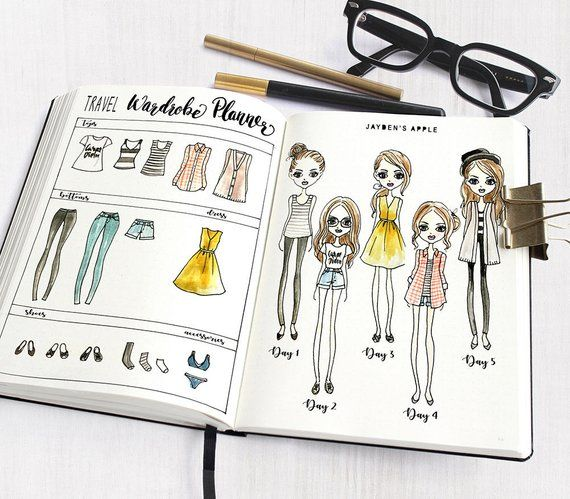 Bullet Journal Stencil, Wardrobe Planner Stencils, Fashion Girl Drawing Stencils – fits A5 & Midori