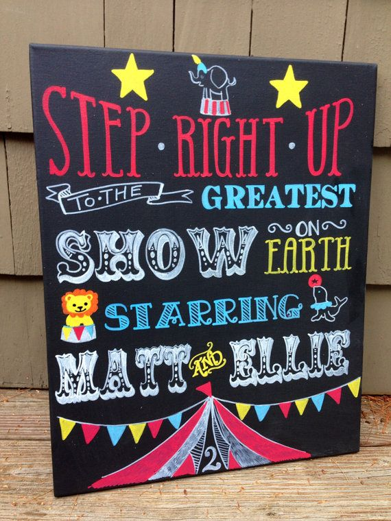"""Circus / Carnival Personalized Chalkboard Canvas Art Welcome Sign- 16x20"""" canvas -NOT A PRINT - Playroom, Kid's Room, Nursery Decor, Shower"""