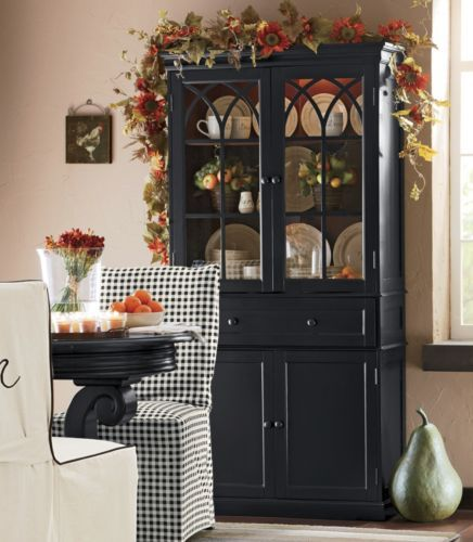 hutch black lighted from through the country door decorating