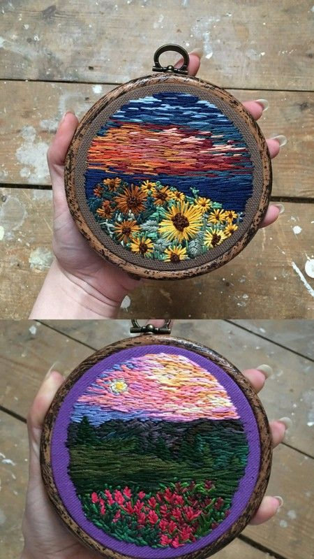 """wnq-writers: """" culturenlifestyle: """" Stunning Embroidered Landscapes Effortlessly Mimic Impressionist Paintings Inspired by 60's and 70's aesthetic, Rachael from Used Threads Shop's stunning embroidery..."""