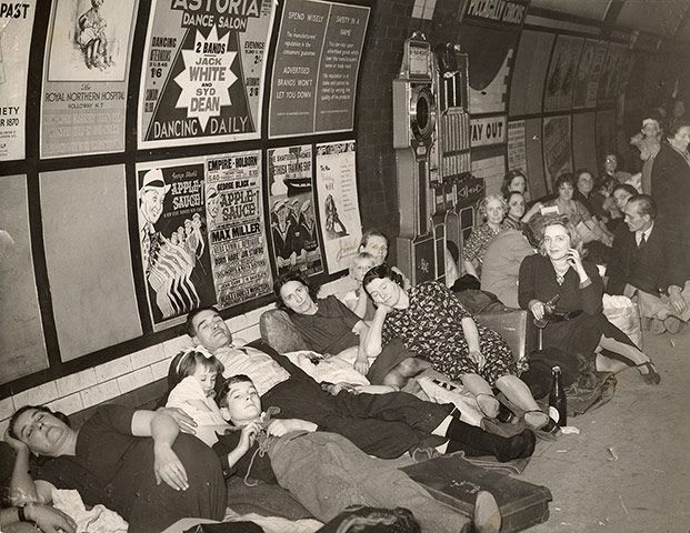 People sleeping at Piccadilly underground station during the second world war.