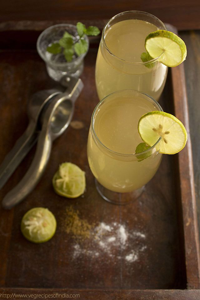 Indian Lemonade 1 medium size lemon 2 glasses of water 1 tsp cumin powder rock salt or black salt as required sugar as required 4-5 mint leaves for garnishi...