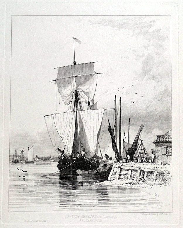 DUTCH GALLIOT c unloading Drawn and Etched by E W Cooke Published London 1829