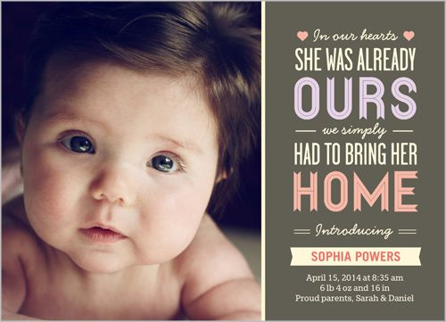 In Our Hearts Girl Birth Announcement