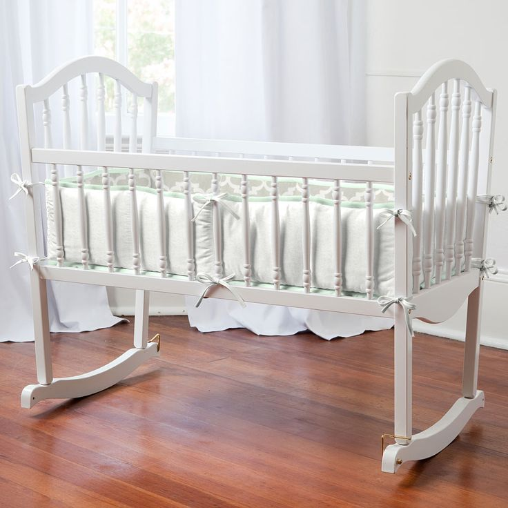 French Gray and Mint Quatrefoil Cradle Bedding | Carousel Designs