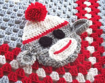 Baby Boy Sock Monkey Blanket, Crochet Sock Monkey Baby Blanket, Sock Monkey Nursery, Crochet Baby Blanket, Granny Square Baby Blanket, 29x29