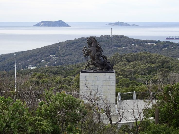 View from King George Sound Western Australia. - Statue by Web Gilbert. The ANZAC Desert Mounted Corps Memorial. This statue is a duplicate of the original statue erected in Suez in the 1930's. Unveiled in 1964 by Robert Menzies.