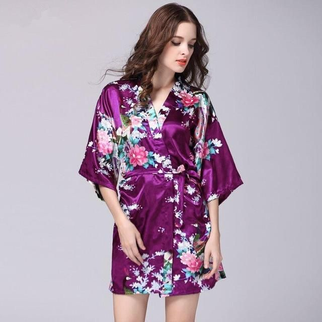 Purple Satin Robe Sexy Peignoir Femme Soie Women Short Mini Robes Sleepwear  Pijamas Batas De Seda 9d9360a80376
