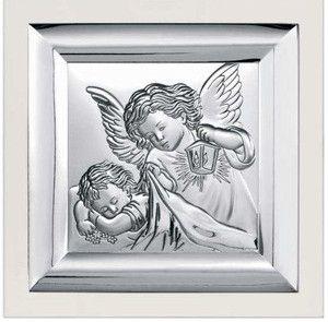 Prezent na chrzest Obrazek Anioł Stróż na białym drewienku- (BC#6387W) Pasaż Handlowy